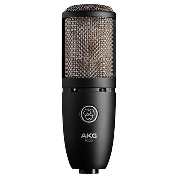 AKG P220 High-performance large diaphragm true condenser microphone front view. EMI Audio