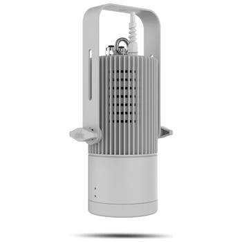 CHAUVET PRO OVATIONH55WWWHT Compact Convection Cooled House Light Warm White, White Fixture front/left view of fixture with knobs on both sides