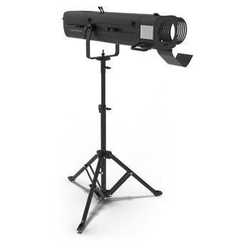 CHAUVET PRO OVATIONSP300CW High Power LED Followspot with Stand front/left view of light fixture on stand