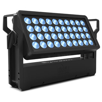 CHAUVET PRO COLORADOPANELQ40 IP65-Rated Rectangular Wash Light with 40 15W RGBW LEDs Indoor/Outdoor front/left view of black rectangular structure with 40 LEDs shining blue