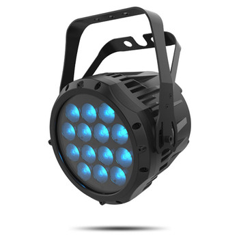 CHAUVET PRO COLORado 1-Quad Indoor/Outdoor Wash Light with 14 5W RGBW LEDs front/right view of black fixture with blue lights