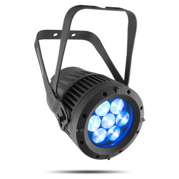 CHAUVET PRO COLORado1QZoom Indoor/Outdoor Wash Light with Seven Osram RGBW LEDs and 13° to 45° Zoom front/left view with 7 LEDs shining blue