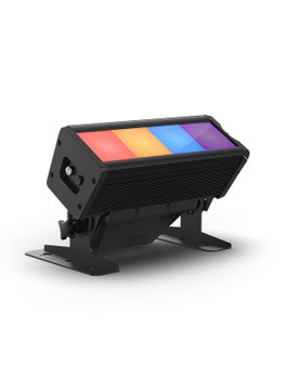 CHAUVET PRO COLORADOSOLOBATTEN4 RGBAW 4-Cell LED Batten with End-to-End Color Mixing front/left view of batten fixture with red, orange, blue, purple quadrants