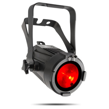 CHAUVET PRO COLORado M-SOLO Indoor/Outdoor RGBW LED Wash Light with 5° to 24° Zoom front/left view of black fixture with red light