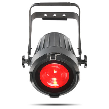 CHAUVET PRO COLORado 1-SOLO Indoor/Outdoor Wash Light with One 60W RGBW LED and 8° to 55° Zoom front view of black fixture with red light