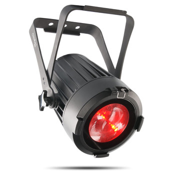 CHAUVET PRO COLORado 1-SOLO Indoor/Outdoor Wash Light with One 60W RGBW LED and 8° to 55° Zoom front/left view of black fixture with red light shining
