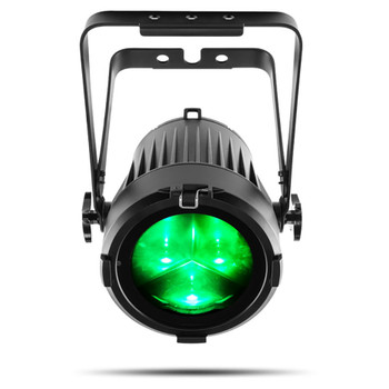 CHAUVET PRO COLORADO2SOLO Indoor/Outdoor Wash Light with Three 40W RGBW LEDs and 7° to 42° zoom front view with green lights shining