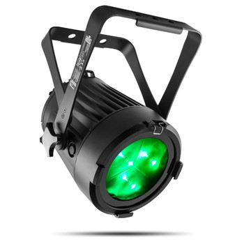 CHAUVET PRO COLORADO2SOLO Indoor/Outdoor Wash Light with Three 40W RGBW LEDs and 7° to 42° zoom front/left view with green lights shining