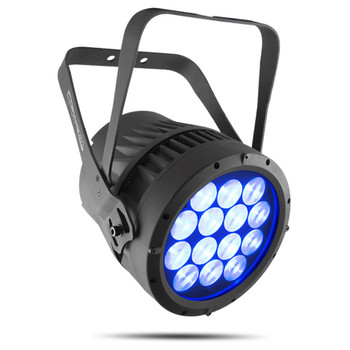 CHAUVET PRO COLORADO2QZOOM Solid Indoor/Outdoor Wash Light with 14 RGBW LEDs and 14° to 44° Zoom front/left view blue lights