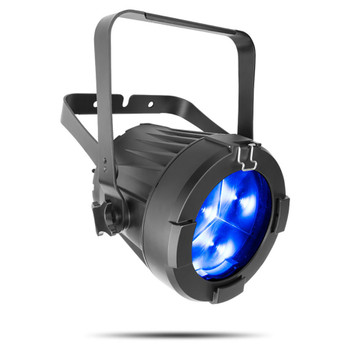 CHAUVET PRO COLORado 3-SOLO Indoor/Outdoor Wash Light with Three 60W RGBW LEDs front/left view with blue lights