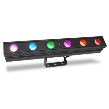CHAUVET PRO COLORDASHBATTENQUAD6 Linear Wash Fixture with 6 Individually Controllable Quad-Colored RGBA LEDs front/left view of linear fixture with pink blue green purple orange red individual lights