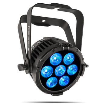 CHAUVET PRO COLORDASHPARH7IP All-Weather RGBWAUV LED Wash Light front/left view 7 blue lights shining