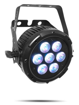 CHAUVET PRO COLORDASHPARQUAD7 Compact Wash Light with Seven Quad-Colored RGBA LEDs front/left view purple lights