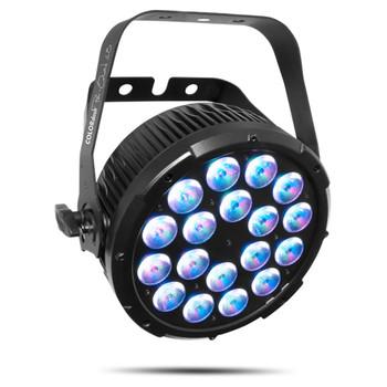 CHAUVET PRO COLORDASHPARQUAD18 Par with 18 Quad-Colored RGBA LEDs front/left view of light with purple color