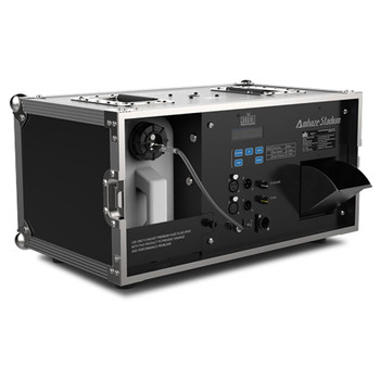 CHAUVET PRO AMHAZESTADIUM Professional Water-Based Haze Machine for Large-Scale Applications front/side view of case with handles on top and fogger case, buttons, screen, input/outputs and haze output on front