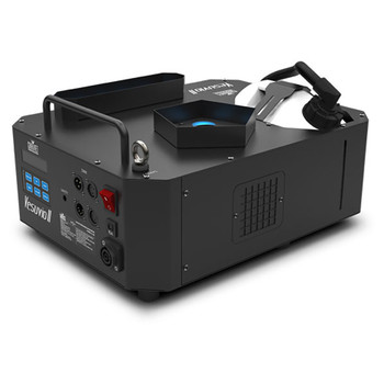 CHAUVET PRO VESUVIOII Fog Machine With Advanced RGBA+UV LED Color Mixing front/top view showing inputs, outputs, power switch, buttons on front and fog container and light bulbs on top