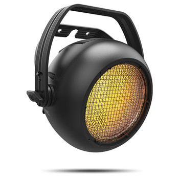 CHAUVET PRO STRIKE1 Single Pod Blinder/Strobe with 230 W Warm White LED Source front/left view with amber lights
