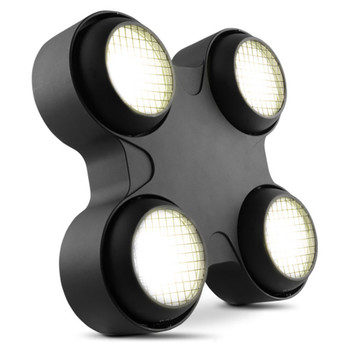 CHAUVET PRO STRIKE4 Blinder and Strobe with Four High-Power 100 W COB LEDs front/left view of black fixture with 4 independent light pods illuminating white lights