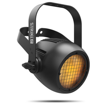 CHAUVET PRO STRIKEP38 Single Pod Blinder/Strobe with 90 W Warm White LED front/left view with amber lights illuminated