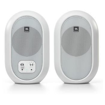 JBL 104 SET-BT-WHITE Powered Monitors front view. EMI Audio