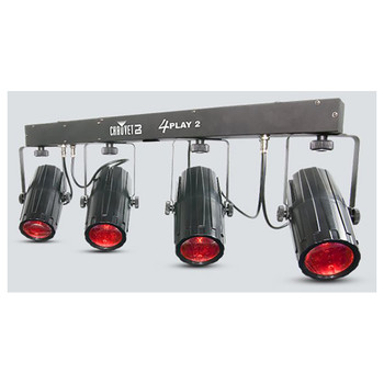 CHAUVET 4Play 2 portable RGBW LED effect light front/right view with red lights