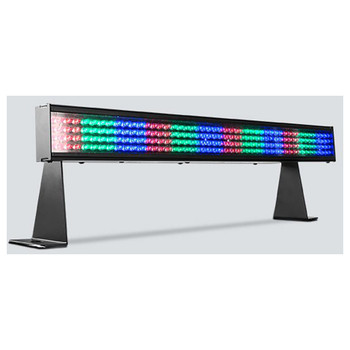 CHAUVET COLORstrip Mini 19-inch, four-channel DMX-512 controlled LED linear wash light front/left view with red green and blue lights alternating