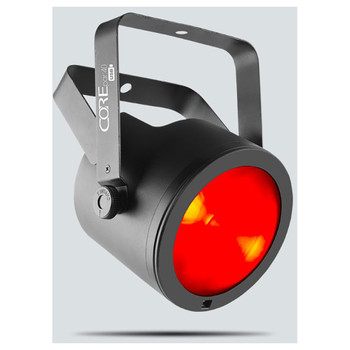 CHAUVET COREpar 40 USB COB (Chip-on-Board) LED front/left view with red light illuminating