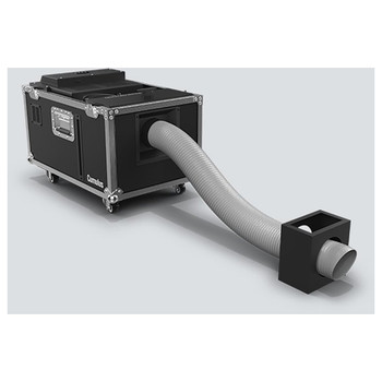 CHAUVET Cumulus Professional low-lying fog machine that creates thick clouds that hug the floor front/left view of fixture on lockable casters and extender connected