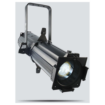CHAUVET EVE E-100Z powerful spot fixture featuring sharp pattern projection with a 100 W warm white LED light source front/left view with warm white light shining downwareds