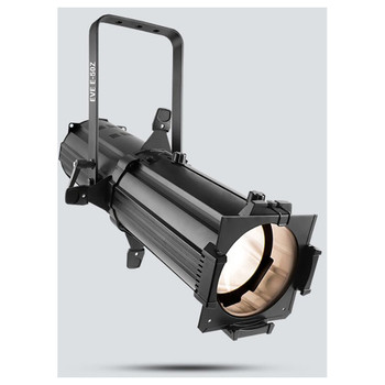 CHAUVET EVE E-50Z LED Ellipsoidal that shines a hard-edged, warm white spot - front/left view shown with white light pointing downwards