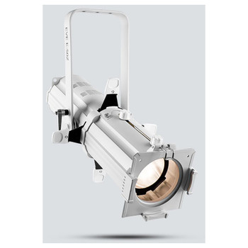 CHAUVET EVE E-50Z LED Ellipsoidal that shines a hard-edged, warm white spot (White Housing) - front/left view shown with white light pointing downwards