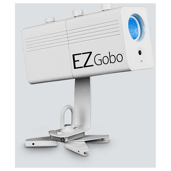 CHAUVET EZgobo battery-powered LED gobo projector with magnetic base front/left side view with logo and projector light shining