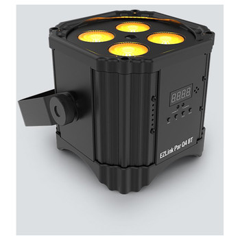 CHAUVET EZlink Par Q4BT wireless, battery-operated, quad-color (RGBA) LED Par with built-in Bluetooth wireless technology front/left view with amber lights facing up