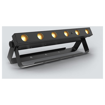 CHAUVET EZlink Strip Q6BT battery-operated, quad-color (RGBA) LED linear wash light front/left view of bar light with 6 yellow bulbs