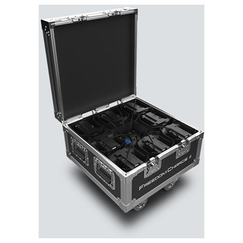 CHAUVET Freedom Charge 8 compact road case that charges and safely transports Freedom Par fixtures - front/left view of open case with compartments and charging cables inside and wheels below