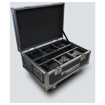 CHAUVET Freedom Charge Cyc compact road case that safely transports and charges Freedom Cyc fixtures - front/left view of open case showing all compartments, charging cables, and wheels below