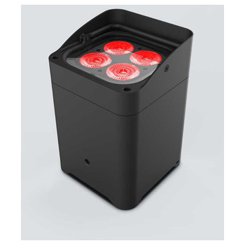 CHAUVET Freedom Flex H4 IP 100% TRUE wireless, battery-operated, hex-color (RGBAW + UV) LED Par with built-in D-Fi transceiver front/right view with 4 red lights shining upwards