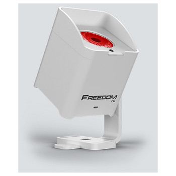 CHAUVET Freedom H1 X4 battery-operated LED wash light with built-in D-Fi transceiver (White Housing) front/left view with red light shining upward