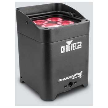 CHAUVET Freedom Par Quad-4 IP battery-operated, quad-color (RGBA) LED Par with built-in D-Fi transceiver front/left/top view with 4 red lights shining upward