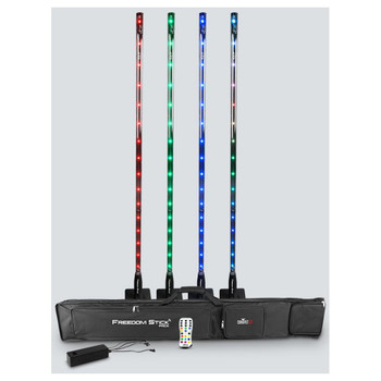 CHAUVET Freedom Stick Pack entire pack shown with 4 freedom sticks standing vertically in red green blue and multi-color, 1 multi-charger, 1 IRC-6 remote, and 1 carrying bag laying horizontal