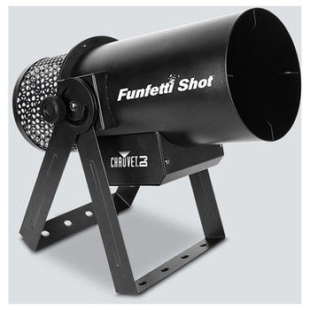 CHAUVET Funfetti Shot event-ready confetti launcher front/right view of funfetti shot resting on stands and output for confetti facing upward