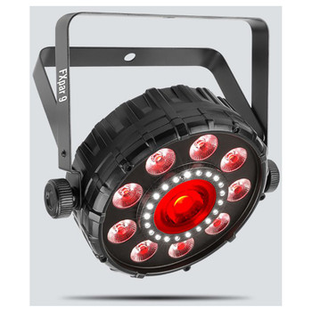 CHAUVET Fxpar 9 Compact effect par with outer ring of RGB+UV LEDs, a center LED, and SMD strobes front/left view with all light features illuminated