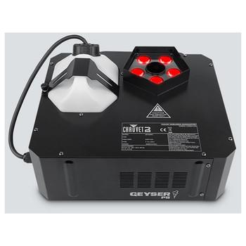 CHAUVET Geyser P5 produces color-filled bursts of fog with five penta-color (RGBA+UV) LEDs front/top view showing pentagon shape with 5 red lights alongside canister for fog
