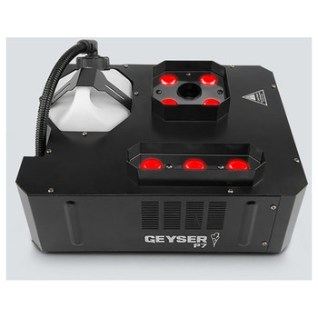 CHAUVET Geyser P7 dynamic pyrotechnic-like effect that creates bursts of fog lit with seven 9-watt penta-color (RGBA+UV) LEDs top/front view showing 2 light sections and container for fog