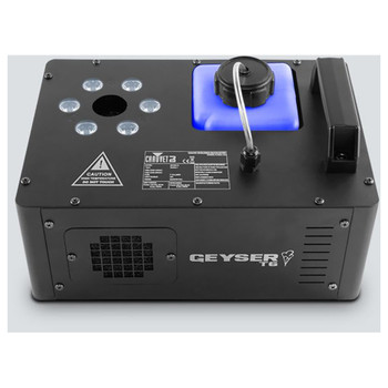 CHAUVET Geyser T6 water-based fog illuminator with 6 tri-color (RGB) LEDs top view with handle, light bulbs, and fogger shown