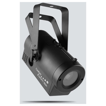 CHAUVET Gobo Zoom USB Super-compact custom gobo projector, with built-in D-Fi USB compatibility front/left view with handles up and logo on side