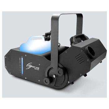 CHAUVET Hurricane 1800 Flex water-based fog machine offers a manually adjustable output angle of 180° front/left view showing fluid level and fog output facing upward
