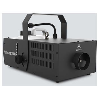 CHAUVET Hurricane 2000 high volume fog machine front/top/left view with handle upwards, canister, and fog output