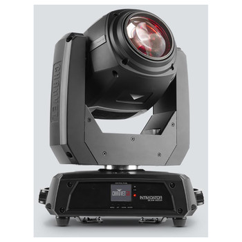 CHAUVET Intimidator Beam 140SR moving head beam with bright 140 W discharge light engine front view with light facing upward to the right and logo on front of base