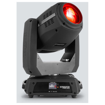 CHAUVET Intimidator Hybrid 140SR all-in-one moving head fixture that morphs from SPOT to BEAM to WASH with 140 W discharge light engine front view with red light shining upwards and right